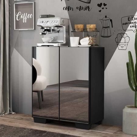 Imagem de Aparador Cantinho do Café com Espelho e Pés Quadrados 2 Portas Multimóveis Preto