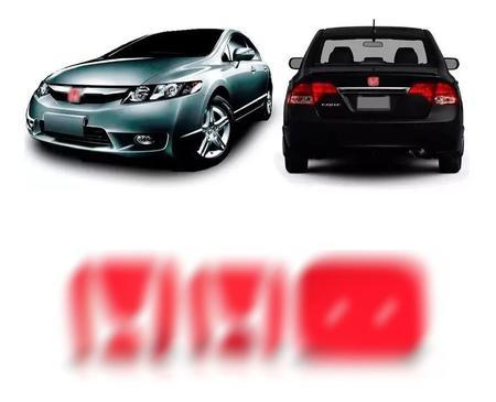 Imagem de Aplique Vermelho Emblema New Civic Traseiro E Frontal 06/11