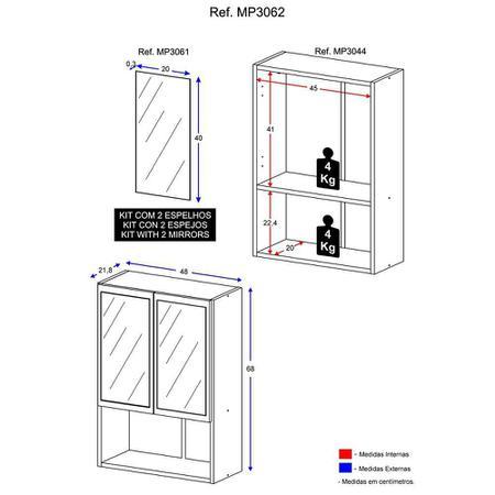 Imagem de Armário de Banheiro com espelho e 2 portas Multimóveis Branco