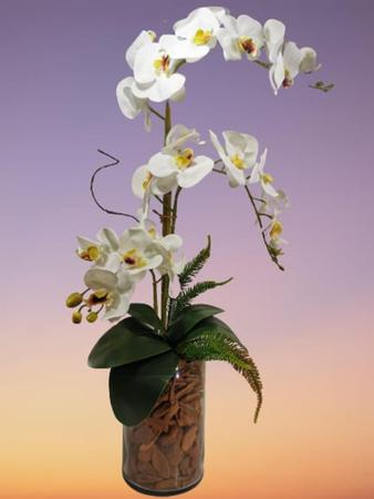 Imagem de Arranjo Artificial Orquídeas de Silicone Vaso de Vidro 20cm