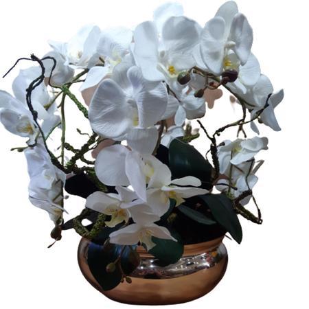 Imagem de Arranjo Centro de Mesa Flores Artificiais 4 Orquideas Brancas em Vaso de vidro dourado 30 cm diam