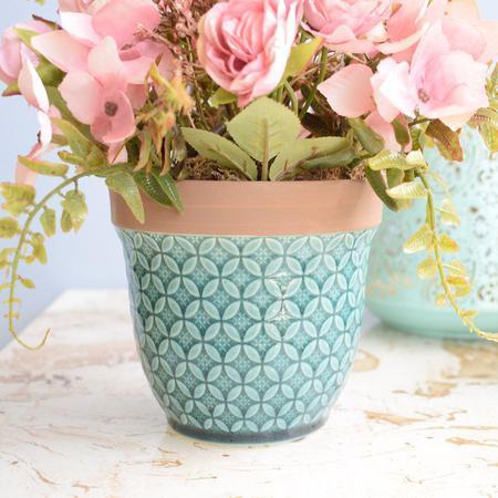 Imagem de Arranjo de Flor Artificial Rosas e Hortênsias Rosa no Vaso Azul Turquesa
