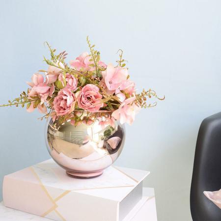 Imagem de Arranjo de Flor Artificial Rosas Rosa no Vaso de Vidro Rose Gold