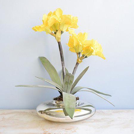 Imagem de Arranjo de Flores Artificiais Amarílis Amarela no Vaso Prateado  Linha Permanente Formosinha