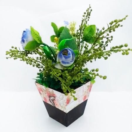Imagem de Arranjo de Flores Artificiais Mini Rosa Azul