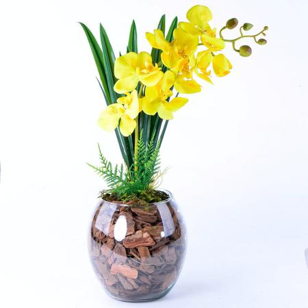 Imagem de Arranjo de Orquídea Artificial Amarela Jardim Dourado