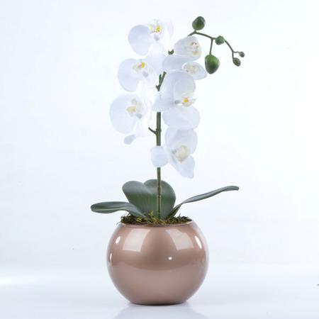 Imagem de Arranjo de Orquídea Artificial Branca em Aquário Cobre Luiza
