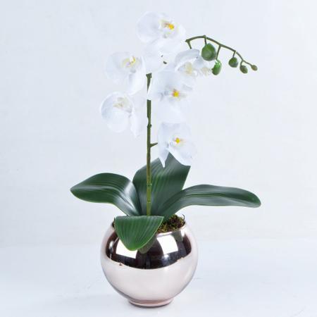 Imagem de Arranjo de Orquídea Artificial Branca em Aquário Rose Gold Bella