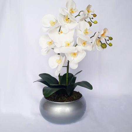 Imagem de Arranjo de Orquídea Artificial Branca em Vaso Prata Ana