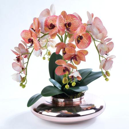 Imagem de Arranjo de Orquídea Artificial em Vaso Rose Gold Sofia