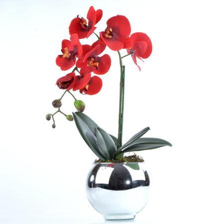 Imagem de Arranjo de Orquídea Artificial Vermelha em Vaso Prata Alice