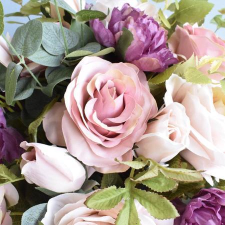 Imagem de Arranjo de Rosas Rosa e Peônias no Vaso de Vidro Preto Fosco Linha Permanente Formosinha