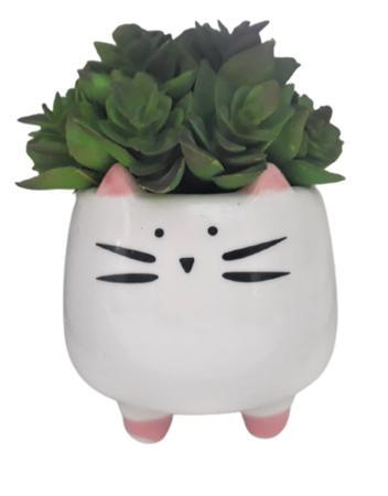 Imagem de Arranjo de suculentas artificiais vaso cerâmica gatinha