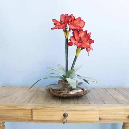Imagem de Arranjos de Flores Artificiais Amarílis Vermelho no Vaso Transparente  Linha Permanente Formosinha