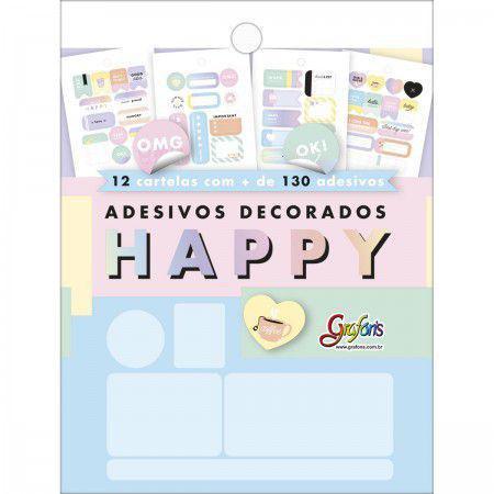 Imagem de Bloco de adesivos decorados Happy