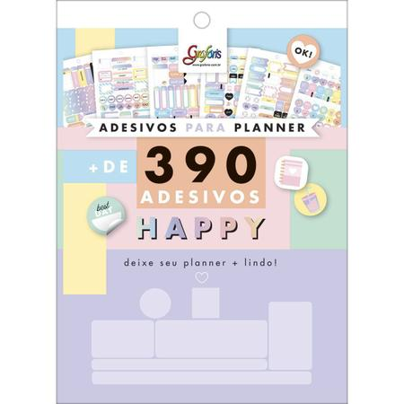 Imagem de Bloco de Adesivos para Planners Happy 12 Folhas - 390 adesivos