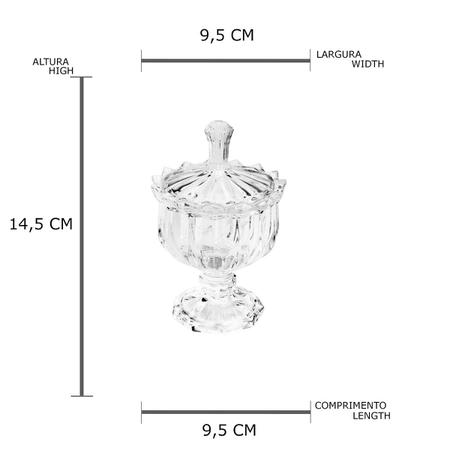 Imagem de Bomboniere de Cristal com Pé Mali Transparente 9,5x14,5cm