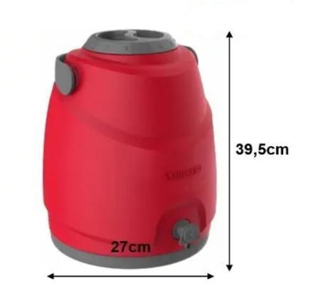 Imagem de Botijão Térmico com Porta Copos Aspen 12LT Vermelho Soprano