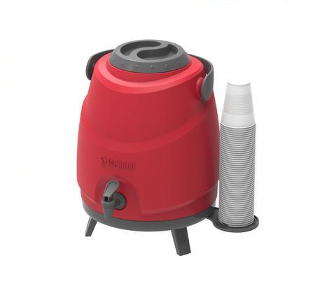 Imagem de Botijão Térmico com Porta Copos Aspen 9LT Vermelho Soprano