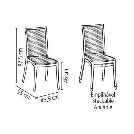 Imagem de Cadeira Tramontina Laura Ratan Preta em Polipropileno e Fibra de Vidro