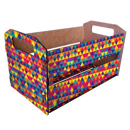 Imagem de Caixote de Feira Organizador M - Triangulos Coloridos