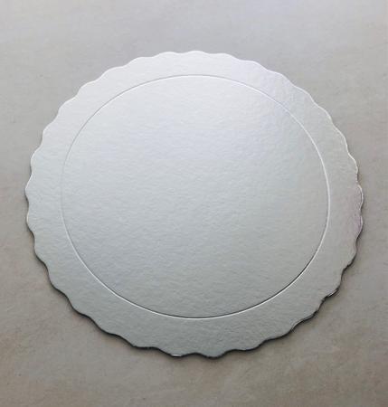Imagem de Cake board, base laminada p/ bolo, redonda, 30 cm, prata -100 unidades