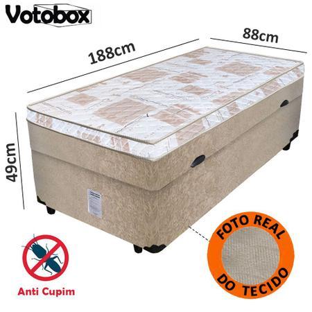 Imagem de Cama Box Baú Solteiro Conjugado de Espuma 88x188x63cm Suede Bege VOTOBOX