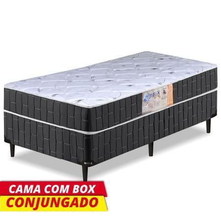 Imagem de Cama Box Solteiro Conjugado Granada Umaflex Preto / Branco Flor