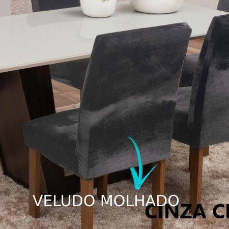 Imagem de Capa de Cadeira 4 Lugares Veludo Molhado Cinza Chumbo
