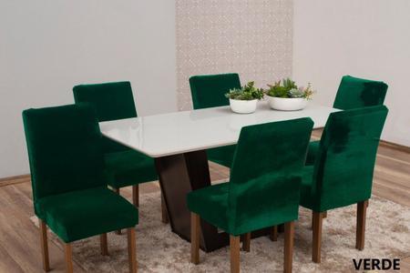 Imagem de Capa de Cadeira 6 Lugares Veludo Molhado Verde