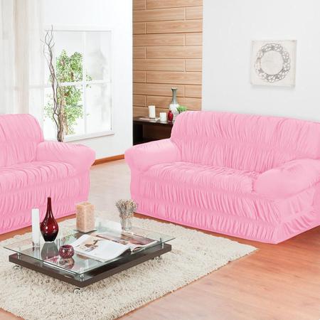 Imagem de Capa de Sofá 3 e 2 Lugares Elásticada Rosa