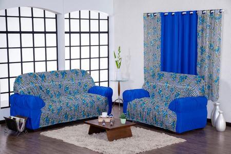 Imagem de Capa De Sofá Lisa Com Estampados 3 E 2 Elasticada + Cortina 2,00 Metros Estampada Azul