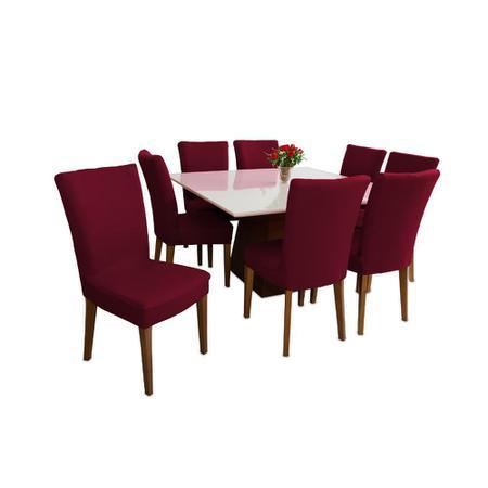 Imagem de Capa Para Cadeira Cozinha Sala De Jantar Malha Vinho luxo