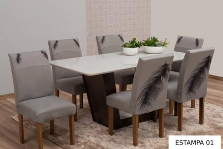 Imagem de Capa para cadeira Malha Gel 4 peças mesa de jantar Estampada
