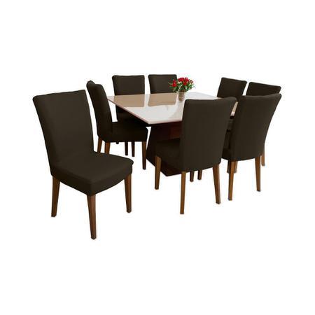 Imagem de Capa Protetora cadeira de Jantar Elástica Marrom premium