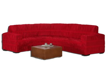 Imagem de Capa Protetora para Sofá De Canto Elasticada Em Malha Para Sofá ate 6 Lugares vermelho