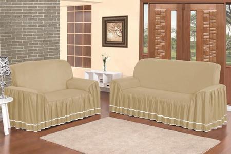 Imagem de Capas Para Sofá 2 e 3 Lugares Com Babado Para Sala Dália