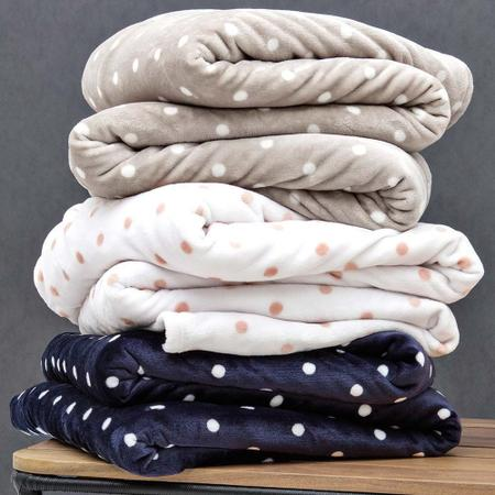 Imagem de Cobertor Microfibra Casal Blanket Vintage 300 Petit Poá Bolinhas Toque de seda Extra Soft Kacyumara
