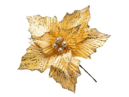 Imagem de Conjunto 10 Flores Natalinas Poinsétia Dourada