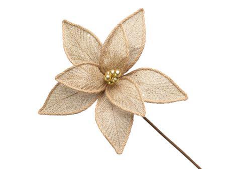 Imagem de Conjunto 10 Flores Natalinas Poinsétia Dourada Com Glitter