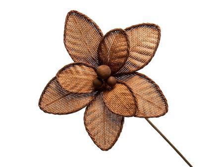 Imagem de Conjunto 10 Flores Natalinas Poinsétia Luxe Amadeirado Trama Rattan Sintético