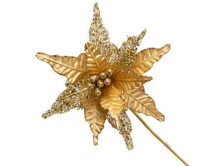 Imagem de Conjunto 10 Flores Natalinas Poinsétia Luxe Dourado Com Glitter