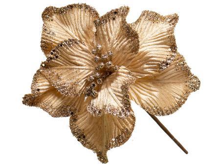 Imagem de Conjunto 10 Flores Natalinas Poinsétia Pick Champanhe Com Glitter