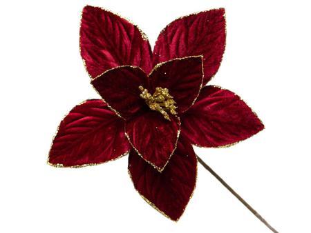 Imagem de Conjunto 10 Flores Natalinas Poinsétia Vermelha Com Glitter Dourado