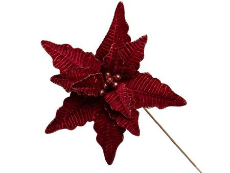 Imagem de Conjunto 5 Flores Natalinas Poinsétia Bordo Com Glitter