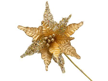 Imagem de Conjunto 5 Flores Natalinas Poinsétia Luxe Dourado Com Glitter