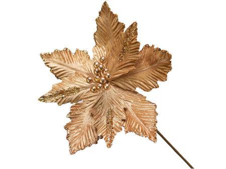 Imagem de Conjunto 5 Flores Natalinas Poinsétia Pick Luxe Dourado