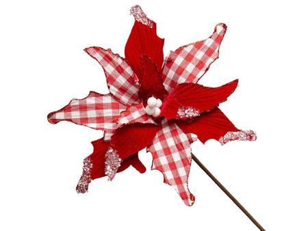 Imagem de Conjunto 5 Flores Natalinas Poinsétia Vermelho Xadrez