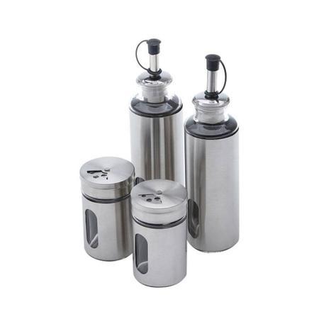Imagem de Conjunto 5 Peças Galheteiro de Aço Inox e Vidro Pointer 17,5cmx9cmx24cm Rojemac