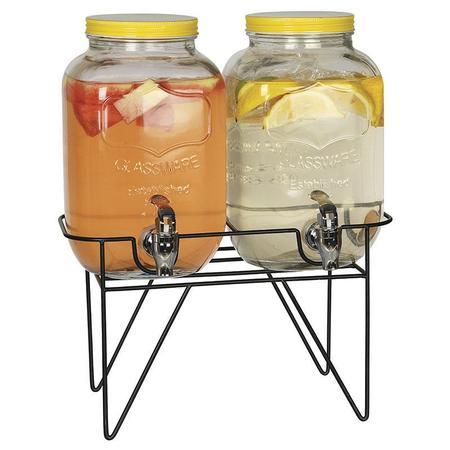Imagem de Conjunto de suqueira dupla 2 litros cada com suporte tampa amarela